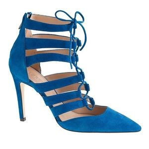 J. Crew heels strappy lace up blue suede leather